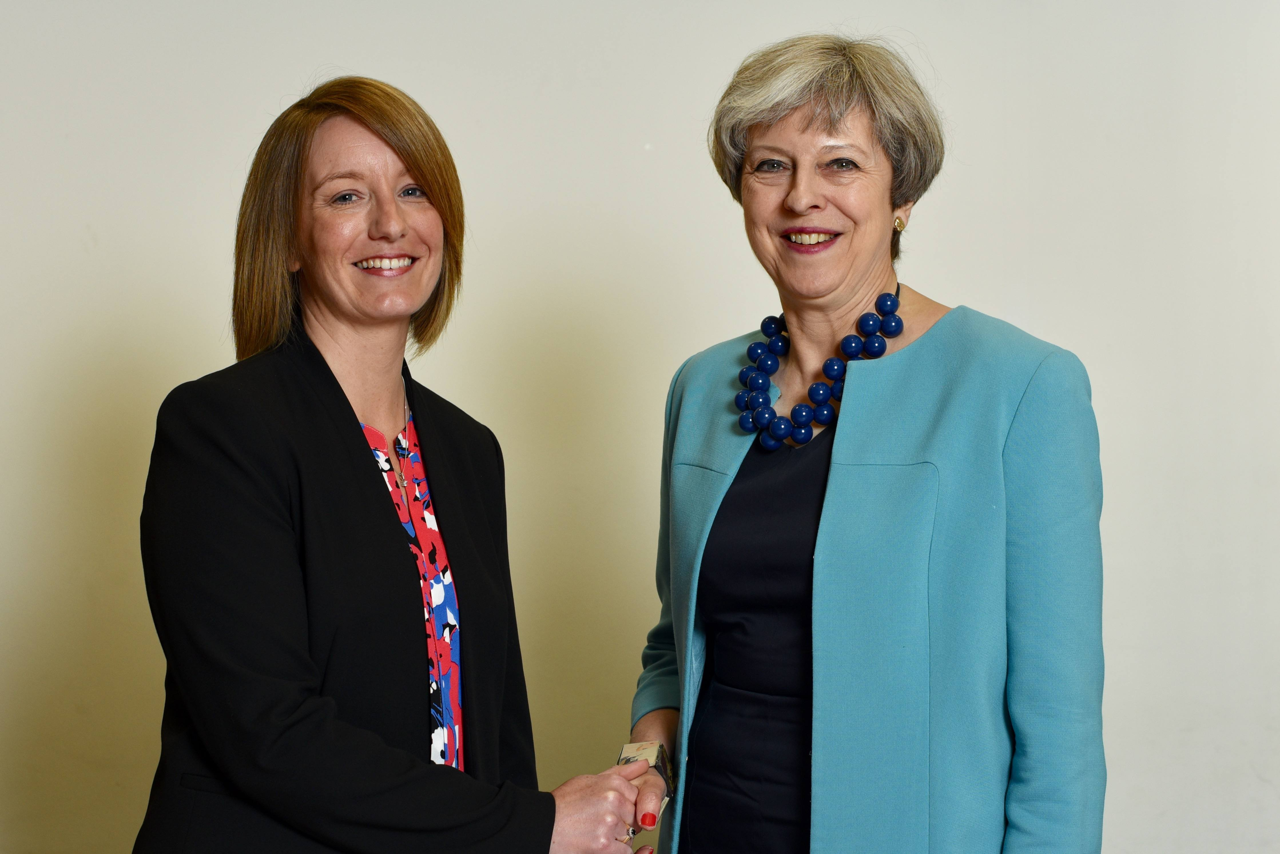 Caroline Moon with the Prime Minister