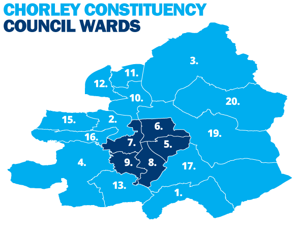 Chorley Council Wards in the Chorley Constituency