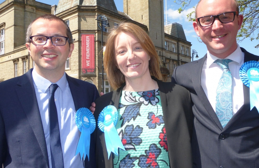 Aidy Riggott and Andrew Snowden with Parliamentary Candidate Caroline Moon