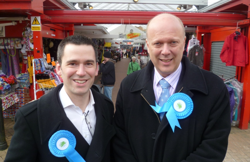 Parliamentary candidate Rob Loughennury with Rt Hon Chris Grayling MP